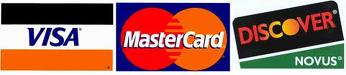 Images of Visa, MasterCard and Discover credit cards